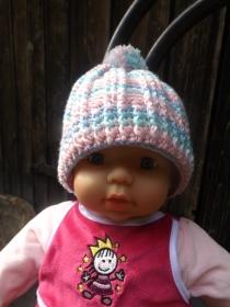 Kunterbunte Mütze für Neugeborene, Kopfumfang ca 40 cm