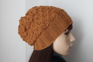 Zimtfarbige Strickmütze aus 100% Schurwolle für Damen handmade gestrickte Mütze handgestrickt von ConniKie reine Schurwolle - Handarbeit kaufen