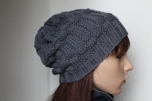 Beanie aus reiner Wolle handgestrickte Mütze in grau handmade Damen Herren Strickmütz Wollmütze - Handarbeit kaufen