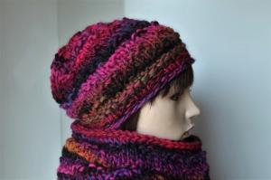 Strickset Winterset Mütze und Schal für Damen weich warm dick pink bunt Strickmütze mit Strickschal  - Handarbeit kaufen