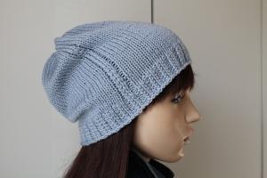 aus reiner weicher Wolle gestricktes Beanie in hellblau handmade handgestrickt blau neu Mütze  Strickmütze Damen  - Handarbeit kaufen