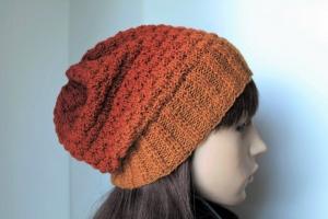 Übergangsmütze aus 100% Wolle von blassorange bis dunklerem rostorangenem Farbverlauf  neu Wollmütze Damen Strickmütze herbstfarbig - Handarbeit kaufen
