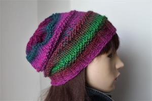 Mehrfarbige Strickmütze für Damen mit Farbverlauf schön weiche handgestrickte Mütze Wollgemisch Mütze  von ConniKie pink petrol grün - Handarbeit kaufen