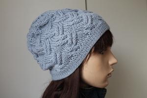 Aus reiner Merinowolle gestricktes Beanie in hellblau Mütze für Damen Wollmütze handmade handgestrickt neu Strickmütze handmade - Handarbeit kaufen