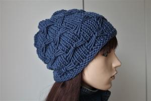 Aus 100% weicher Schurwolle gestrickte Mütze in blau Damen neu handmade handgestrickt Merinomütze Wintermütze dick handgestrickt  - Handarbeit kaufen