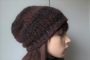 Wintermütze mit braunem Farbverlauf für Damen weich handmade handgestrickt Mütze Beanie Strickmütze braun,dick warme Mütze  - Handarbeit kaufen
