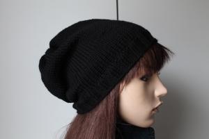 Strickmütze aus 100 % Merinowolle für Damen und Herren handgestrickt schwarz schlicht uni einfarbig Beanie Wollmütze Mütze - Handarbeit kaufen