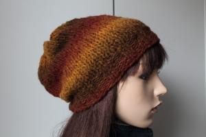 Herbstfarbige Strickmütze aus 100% reiner Schurwolle von Hand gestrickt.handmade Handarbeit Wollmütze Damen neu - Handarbeit kaufen