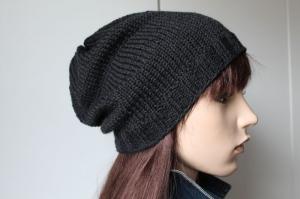 Anthrazitfarbige Strickmütze aus 100% Wolle weich für Mann oder Frau handmade Handarbeit neu Mütze Beanie Männermütze Damenmütze - Handarbeit kaufen