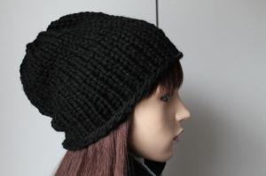 schwarze Mütze aus dicker Wolle gestrickt Damen Herren Beanie handmade handgestrickt schlicht uni einfarbig Strickmütze Wintermütze - Handarbeit kaufen