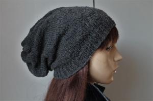 dunkelgraues Schurwollmix-Longbeanie slouch  Männer Frauen long Beanie Mütze handmade Strickmütze grau weich neu handgestrickt Mütze - Handarbeit kaufen