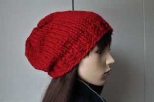 Dicke Strickmütze in hellrot für Damen,weiche Mütze, Wintermütze,rot,neu,handgestrickt, - Handarbeit kaufen