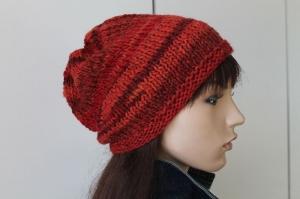 Strickmütze in verschiedenen Rottönen Damen rot neu handmade handgestrickt beidseitig tragbar Mütze  - Handarbeit kaufen