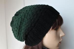 Übergangsmütze aus 100% Wolle für Damen Strickmütze Farbverlauf handmade handgestrickt grün schwarz neu Mütze Wollmütze  - Handarbeit kaufen