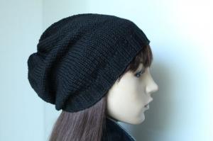 Übergangsmütze für Frau oder Mann in schwarz Baumwollmix weich handmade handgestrickt Mütze Strickmütze neu Herrenmütze Damenmütze - Handarbeit kaufen