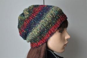 weiche Strickmütze für Damen handmade bunt mehrfarbig handgestrickt Mütze neu rot blau weich - Handarbeit kaufen