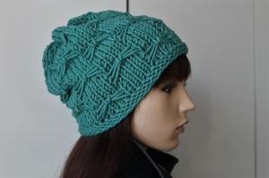 Wollmütze aus 100% weicher Schurwolle für Damen türkis handmade handgestrickt neu dick Wintermütze Strickmütze Mütze Beanie - Handarbeit kaufen