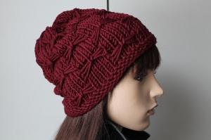 Dicke weiche Mütze aus 100 % Merinowolle gestrickt dunkelrot weinrot Wollmütze Damen handmade handgestrickt neu rot Beanie Strickmütze - Handarbeit kaufen