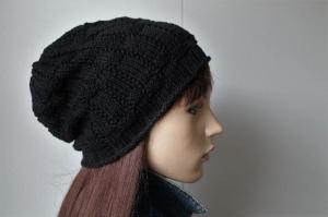Übergangsmütze aus weichem Baumwollmix für Damen oder Herren schwarz Mütze Beanie  - Handarbeit kaufen