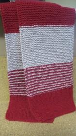 Handgestrickt Schal,Rot-Hellgrauer Farbe, 186cm lang - Handarbeit kaufen
