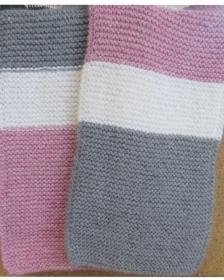 Schal handgestrickt , Weiß-Rose-Grau Farbe, 188cm lang. - Handarbeit kaufen