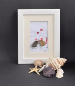 Steinbild love pebbles art 13 x 18 cm, Kieselsteinbild, Steinkunst, - Handarbeit kaufen