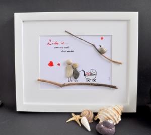Kieselsteinbild Liebe ist....., Steinbild pebbles art - Handarbeit kaufen