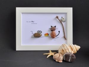 Kieselsteinbild Nie den Mut verlieren Steinbild pebbles Art - Handarbeit kaufen