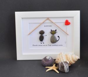 Kieselsteinbild Achtung - Besucher müssen von der Katze genehmigt werden, Steinbild, Kieselsteinkunst, pebbles art, Gästezimmer, Besuch, Dekoration - Handarbeit kaufen