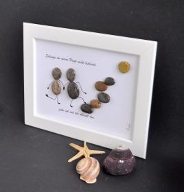 Kieselsteinbild Solange du meine Hand nicht loslässt,..... Steinbild, pebbles art, Dekoration, Geschenk
