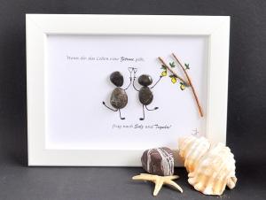 Kieselsteinbild Wenn dir das Leben eine Zitrone gibt...., Steinbild, pebbles art, Dekoration