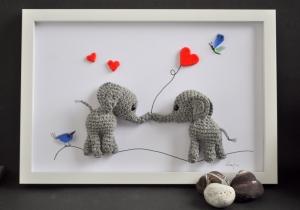 Kinderzimmerbild Elefanten, gehäkelte Elefant, Geschenk, Babyparty, Geburt, Taufe, Dekoration