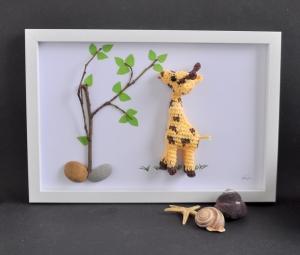 Kinderzimmerbild Giraffe, Bild, Häkelkunst, Dekoration, Geschenk, Geburt, Babyparty, Taufe,