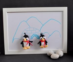 Kinderzimmerbild Pinguin, Bild, Dekoration, Geschenk, Babyparty, Geburt, Taufe,