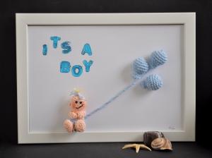 Kinderzimmerbild its a boy, Bild, Geschenk, Babyparty, Geburt, Taufe, Baby