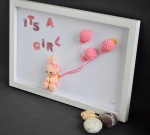 Kinderzimmerbild its a girl, Bild, Dekoration, Geschenk, Taufe, Geburt, Babyparty,