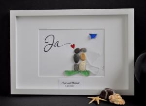 Kieselsteinbild JA, Steinbild, pebbles art, Geschenk, Hochzeit, Brautpaar