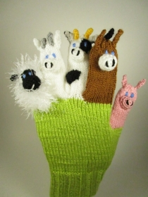 Spielhandschuh - mit Reim - Schwein, Kuh, Pferd, Ziege, Schaf - Handarbeit kaufen