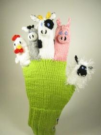 Spielhandschuh - Bauernhof , Kuh, Esel, Schaf, Henne, Schwein - Handarbeit kaufen