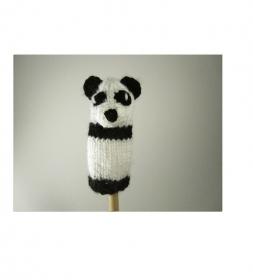 Fingerpuppe Panda - von Hand gestrickt und gehäkelt - Handarbeit kaufen