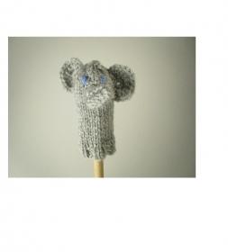 Fingerpuppe Elefant - von Hand gestrickt und gehäkelt - Handarbeit kaufen