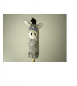 Fingerpuppe Esel  - von Hand gestrickt und gehäkelt - Handarbeit kaufen