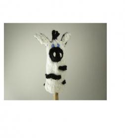 Fingerpuppe Zebra - von Hand gestrickt und gehäkelt - Handarbeit kaufen