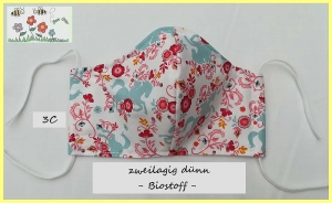 Bee Cozy ♥ Behelfsmasken für Damen / Mund- und Nasenschutz / Communitymasken / Alltagsmasken / ergonomische Masken / Damenmasken / dünn /sommerlich / medizinisches Gummiband - Handarbeit kaufen