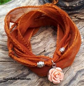 ♥ Seidenbänder mit Anhängerchen und Perlen zum Wickeln ♥ Freundschaftsband für besondere Menschen - Handarbeit kaufen
