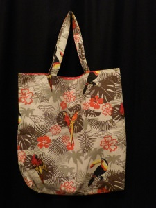 Wendetasche - Einkaufsbeutel aus Baumwolle -  exotische Vögel