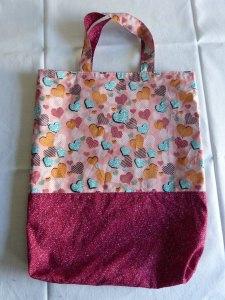 Wendetasche Einkaufstasche aus Baumwollstoff mit Herzen