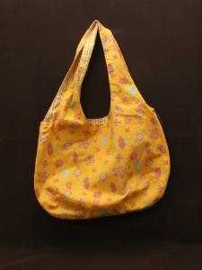 einfache offene Umhängetasche als Wendetasche orange/pink