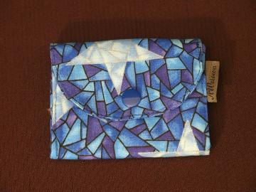 kleine Geldbörse mit Reißverschlussfach aus Stoff  Blau mit Stern - Handarbeit kaufen
