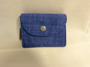kleine Geldbörse mit Reißverschlussfach aus Stoff blau in Jeansoptik